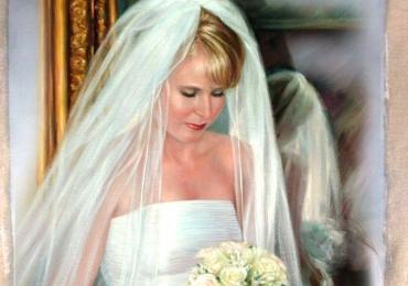 Portret de mireasa pictat la comanda ulei pe panza, idei de cadouri pentru sotii
