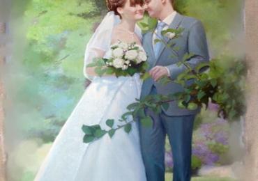 Portret de mireasa pictat la comanda ulei pe panza, portret de nunta
