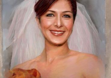 Portret de mireasa pictat la comanda ulei pe panza, portret mireasa cu buchet de flori