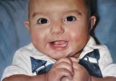 Portret de nou nascut la comanda pictat manual in ulei pe panza. Portrete