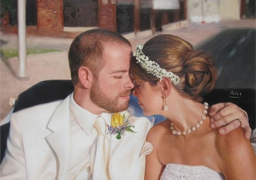 Portret dupa poza din ziua nuntii, Portrete cupluri, portret cuplu pictura ulei, tablouri cu cupluri