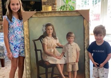 Portret frate si sora la comanda, Tablouri pictate in ulei,  Portrete pictate, Idei de cadouri pentru bunici, portrete la comanda, Tablou pictat manual