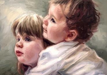 Portret frate si sora. Portrete copii. Manopera pictura manuala in ulei pe panza.