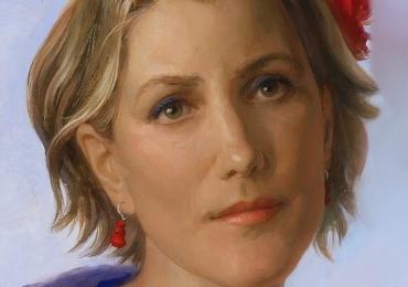 Portret la comada. Tablou portret pictat manual in ulei pe panza. Portrete
