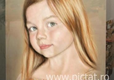 Portret la comanda, bust,  pictat manual in ulei pe panza. Portrete cu copii