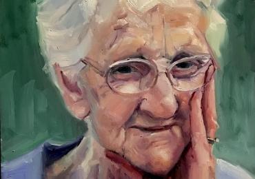 Portret la comanda, cadou zi de nastere bunica. Portret pictat manual in ulei
