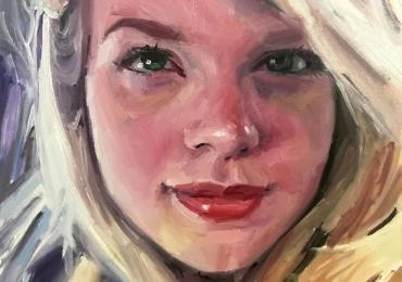 Portret la comanda, cadou zi de nastere pentru logodnica. Portret pictat manual
