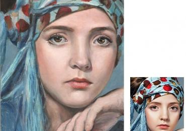 Portret la comanda dupa poza ta pictat manual in ulei pe panza. Portrete
