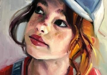 Portret la comanda pictat manual in ulei pe panza. Portret dde fetita cu sapca.