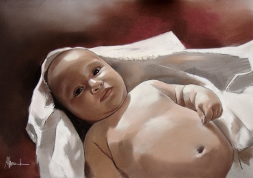 Portret la comanda pictat manual in ulei pe panza. Portrete cu bebelusi Portret