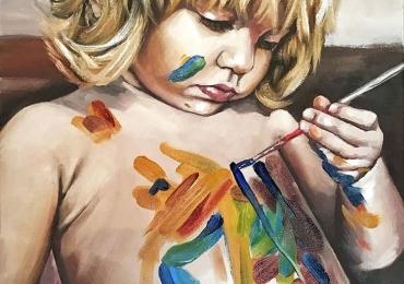 Portret la comanda, pictat manual in ulei pe panza. Portrete cu copii. Portret