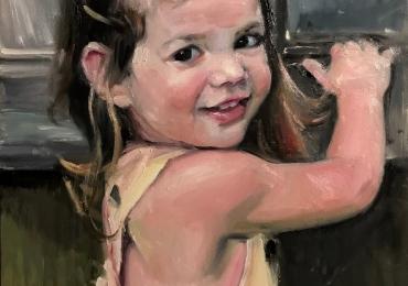 Portret la comanda pictat manual in ulei pe panza. Portrete cu fetite. Portret