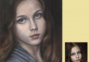 Portret la comanda pictat manual in ulei pe panza. tablouri Portrete cu copii.