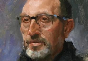 Portret la comanda, pictat manual, pictura cu portret de barbat cu ochelari