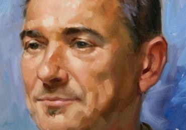 Portret la comanda, pictat manual, pictura cu portret de barbat la comanda pret