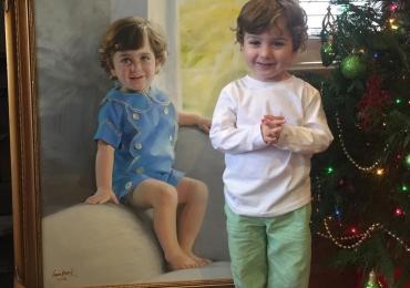 Portret la comanda, pictat manual, pictura cu portret de copil, manopera