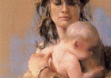 Portret la comanda, pictat manual, pictura cu portret la comanda mama si fica