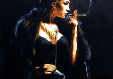 Portret la comanda, pictat manual , portret de femeie fatala