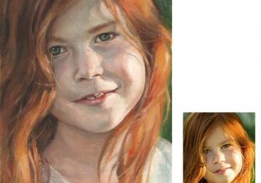 Portret la comanda pictat manual ulei pe panza. Portrete cu copii. Portret bust