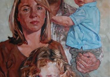 Portret la comanda pictat manual. Portret de familie, portret de familie pictat cu patru personaje