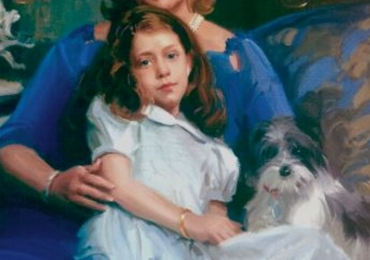 Portret la comanda pictat manual. Portret de familie, portret mama si fica