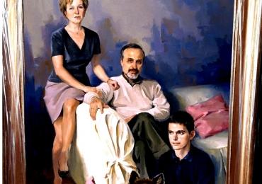 Portret la comanda pictat manual. Portret de familie, tablou cu 4 personaje