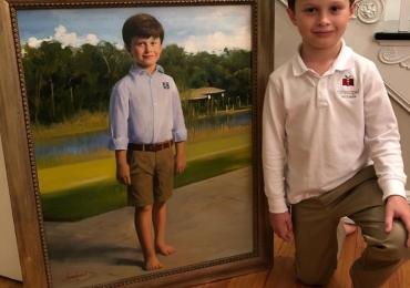 Portret la comanda solutia ideala pentru un cadou, Tablouri pictate manual, portret de baietel incadat in peisaj de vara