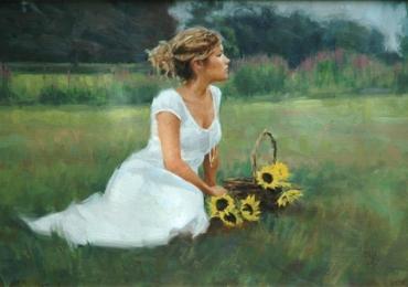 Portret la comanda solutia ideala pentru un cadou, Tablouri pictate manual, portret de femeie intr-un peisaj de vara