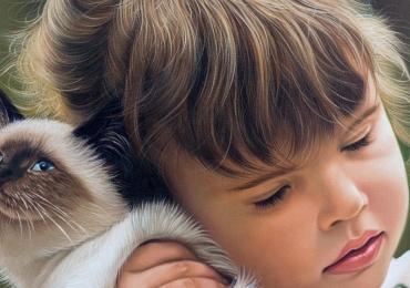 Portret la comanda solutia ideala pentru un cadou, Tablouri pictate manual, portret de fetita cu pisica ei