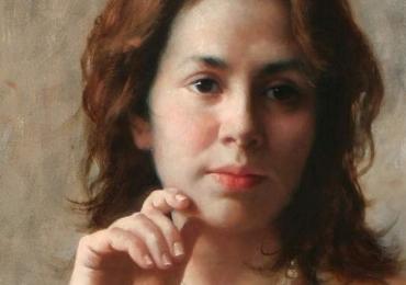 Portret la comanda, tablou pictat manual in ulei pe panza. Portret de femeie.