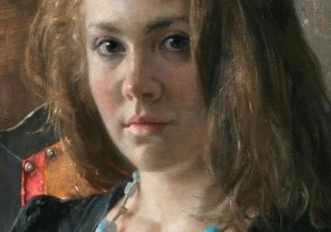 Portret la comanda, tablou pictat manual in ulei pe panza. Portret de fica.