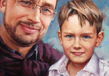 Portret la comanda,Tablouri pictate in ulei,  Portret la comanda, portret tata si fiu