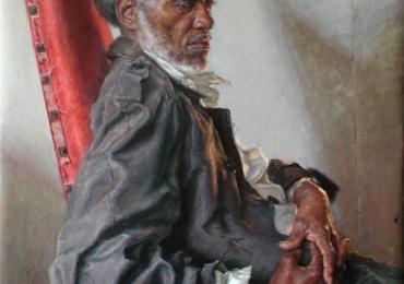 Portret pictat manual in ulei pe panza, portret de barbat in pozitie sezut. Portret