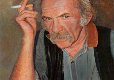 Portret, pictura tablou la comanda, fidel, Tablouri pictate manual, portret de barbat cu tigara fumegand