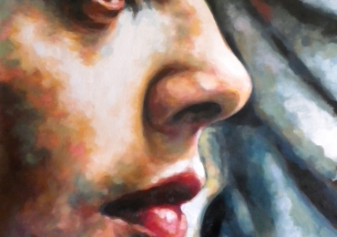 Portret profil la comanda, cadou zi de nastere. Portret  Profil pictat manual in ulei