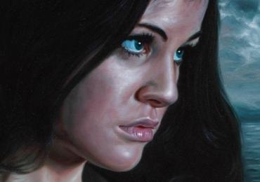 Portret profil la comanda, tablou pictat manual in ulei pe panza. Portret de femeie