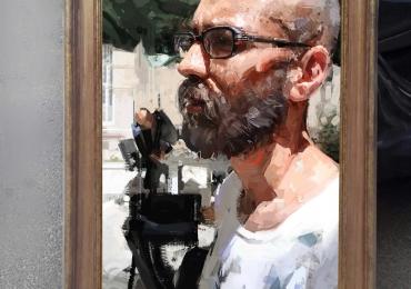 Portret profil pictat barbat. Portrete la comanda cu barbati. Portretele idei de cadouri