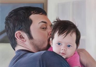 Portret tata si fiu, Picturi tablouri la comanda, Tablouri pictate in ulei, Tablou portret la comanda 2 personaje, Tablouri pictate pe panza