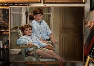 Portrete  cu copii la comanda, Tablouri pictate in ulei,  Tablou portret la comanda