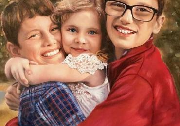 Portrete cu copii, portret pictat la comanda, portrete bust, portret dupa fotografie, portret de copil dupa poza, portret cu trei frati