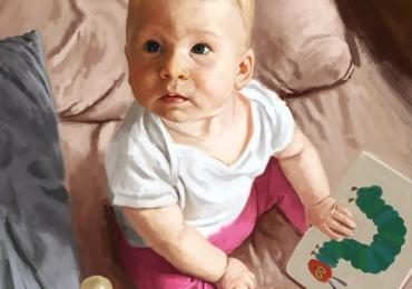Portrete cubebelusi, portret parinti si copii, portret cu mama si copilul, portret tata si fiica, portret tati cu copii, Cadouri pentru botez, portrete la comanda, Tablou pictat dupa poza