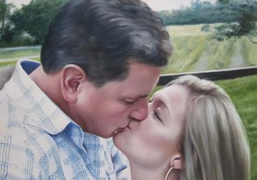 Portrete cupluri, portret cuplu pictura ulei, tablouri cu cupluri, Portret sarutul