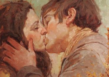 Portrete cupluri, portret cuplu pictura ulei, tablouri cu cupluri, portret cu indragostiti sarutandu-se