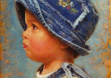 Portrete de copii pictate manual in ulei pe panza. manopera pictura in ulei