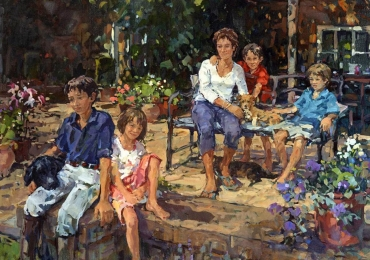 Portrete de familie dupa fotografie, Tablouri pictate manual, Portret de familie, portrete cu mai multe personajre