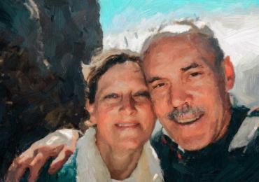 Portrete la comanda manual, Tablouri pictate personalizate,  portret de familie dupa poza din vacanta
