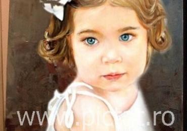 Portrete la comanda pictat manual in ulei pe panza. Portrete cu copii. Portret bust