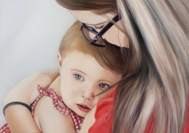 Portrete la comanda, picturi dupa poze, Tablouri pictate manual, Portret mama si copil