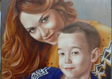 Portrete la comanda, picturi dupa poze, Tablouri pictate manual, Portret mama si copilul