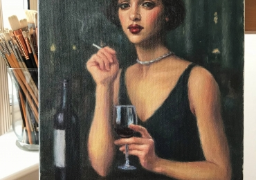 Portrete la comanda, pret manopera pictura in cu femeie savurand un pahar de vin